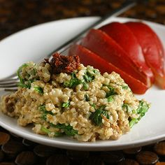 A simple and fulfilling vegetarian breakfast for one. Savory steel cut oats with smoked gouda and sausage.