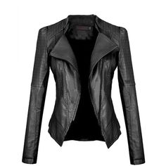 Black Slimming Womens Turndown Collar PU Leather Jacket found on Polyvore