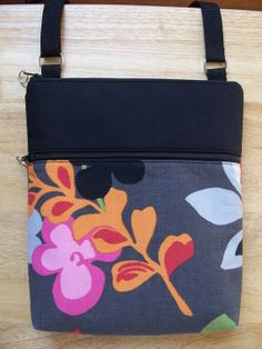 Mod+Colorful+Floral+OrangeGreen+Black+Small+Zipper+by+BHipBags,+$28.00
