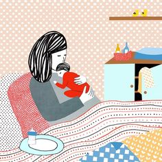 Every time I visit Manon de Jong's website I run into such lovely illustrationwork. So heartwarming and delicate! Family Illustration, Simple Illustration, Beautiful Drawings, Mother And Child, Mother Art, Illustrations And Posters, Precious Moments, Mom And Baby, Art History