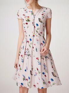 Shop Midi Dresses - Multicolor Folds Short Sleeve A-line Midi Dress online… Lovely Dresses, Trendy Dresses, Simple Dresses, Casual Dresses, Summer Dresses, Simple Dress Casual, Midi Dresses, V Neck Midi Dress, Dress Skirt