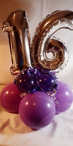 Air-filled with number topper. Sweet 16 Party Decorations, 16th Birthday Decorations, Birthday Centerpieces, Balloon Centerpieces, Balloon Decorations Party, 16 Balloons, Number Balloons, Birthday Balloons, Birthday Girl Pictures