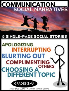Blurting out, apologizing, complimenting, and more! 5 communication social stories in this social learning pack - Grades 2-8.