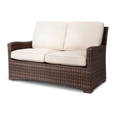 • All-weather wicker<br>• Rust resistant steel frame<br>• Includes seat and back cushions<br>• Compatible with the Threshold Loveseat Cover<br><br>Refresh your backyard with the Halsted Wicker Patio Loveseat from Threshold. This loveseat can be matched up with any of the many choices within the Halsted Collection to create a custom outdoor retreat.