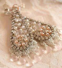 Blush Pink Wedding Earrings / Silver Lace and by EderaJewelry, $268.00