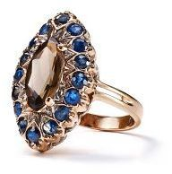 Arik Kastan Sapphire and Smoky Quartz Marquis Ring in 14k Rose Gold #anthrofave
