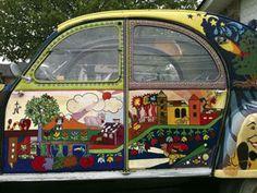 Mike Mullen's Psychedelic 1961 Citroën Mystery Art Car My Dream Car, Dream Cars, Old School Cars, Art School, 2cv6, Old Pickup, Quirky Art, Bus Camper, Automotive Art