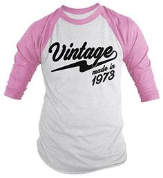 Shirts By Sarah Men's Vintage Made In 1973 Birthday Raglan Retro 3/4 Sleeve Shirts