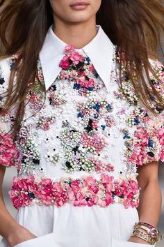 2015 ♔ Blusa de Renda com Flores e Miçangas ♔ ou ♔ Income Blouse with Flowers and Beads ♔