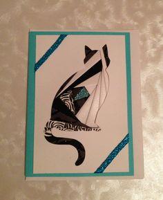 Custom Iris Folded Blank Card /  Cat