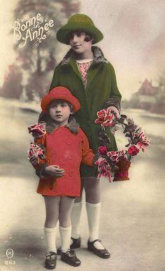 vintage postcard girls