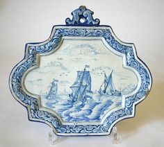 Dutch Delftware blue and white maritime plaque