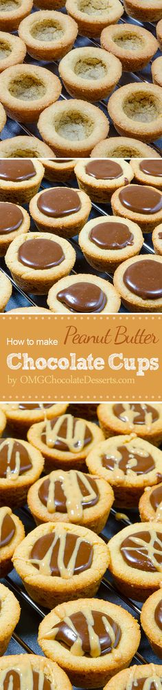 These Peanut Butter Chocolate Cups are delicious mini desserts! Crispy peanut butter cookie cups filled with chocolate fudge - you won't be disappointed! Mini Desserts, Sweet Desserts, Just Desserts, Sweet Recipes, Yummy Treats, Sweet Treats, Yummy Food, Cookie Recipes, Dessert Recipes