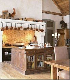 French Country Kitchen Design With Dining Table French Country Kitchen Design Mediterranean Kitchen Design with French Country Style a. Decor, Kitchen Inspirations, French Country Kitchen, Kitchen Remodel, Kitchen Decor, Reclaimed Kitchen Island, Rustic Country Kitchens, Kitchen Dining Room, Home Kitchens