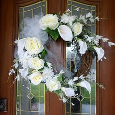 Elegant Calla Lilly Wreath  White Wedding by JulieButlerCreations