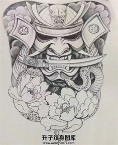 I seriously am into the designs, outlines, and depth. This is a terrific artwork if you want a Japanese Mask Tattoo, Japanese Tattoos For Men, Japanese Tattoo Designs, Japanese Sleeve Tattoos, Back Piece Tattoo, Back Tattoo, Samurai Warrior Tattoo, Japan Tattoo Design, Hannya Tattoo