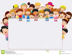 Crowd children cartoon with blank sign. Illustration of Crowd children cartoon w , Borders For Paper, Borders And Frames, School Border, Blank Sign, Blank Banner, Powerpoint Background Design, School Frame, Kids Background, Page Borders