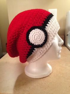 My version of a Pokeball slouchy hat! Made in several sizes and various levels of slouch. Crochet Pokemon Pokeball Inspired Slouchy Beanie by NorthernHooker