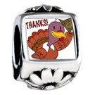 Turkey Giving Thanks Photo Flower Charms Fit Pandora