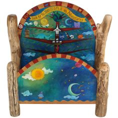 Sticks creates this artistic one-of-a-kind bed, constructed of hard wood. Hand drawn whimsical designs are burnt in, and then painted. * Size: x x * Signed, Dated Sticks furniture, l Funky Painted Furniture, Painted Chairs, Colorful Furniture, Unique Furniture, Recycled Furniture, Sticks Furniture, Art Furniture, Furniture Outlet, Furniture Stores