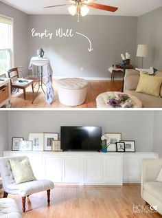 Make these stunning custom built-in storage cabinets as a console for your TV, or storage for any space in your house! Free plans available.