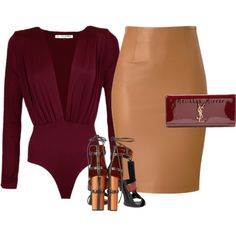 'BURGUNDY x CAMEL' by Melissa's Mirror by melissas-mirror on Polyvore featuring polyvore fashion style Tom Ford Yves Saint Laurent