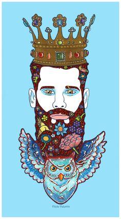 The King Owl - Acrylics on paper - Vilela Valentin Framed Prints, Canvas Prints, Art Prints, Mental Health Art, Bear Art, Acrylics, Art Boards, Wall Tapestry, Decorative Throw Pillows
