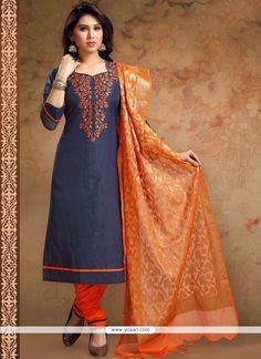 Print Work Chanderi Churidar Designer Suit
