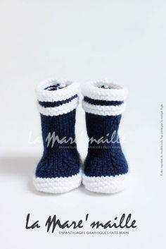 Bottes bébé marin en maille bleue inspirées des bottes Aigle® : Mode Bébé par la-mare-maille