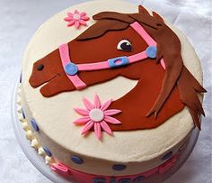 "Here is the cute ""Giddy Up"" horse cake I made for a 9 year old girl's birthday party this weekend. I posted a ""sneak peek"" of the horse to..."