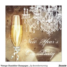 Vintage Chandelier Champagne New Years Eve Party 13 Cm X 13 Cm Square Invitation Card