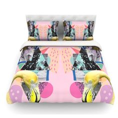 East Urban Home Flamingo Tropical by Vasare Nar Featherweight Duvet Cover Size: Queen