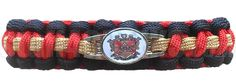 Phi Mu Alpha Braided Sports Bracelet with Crest, Black/Red/Old Gold