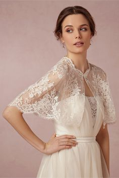 Elle & Jae EXCLUSIVELY for BHLDN - Chantilly Capelet in Shoes & Accessories Cover Ups at BHLDN - ivory lace bridal cover up