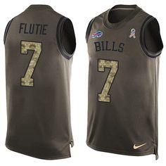 Men's Nike Buffalo Bills #7 Doug Flutie Limited Green Salute to Service Tank Top NFL Jersey