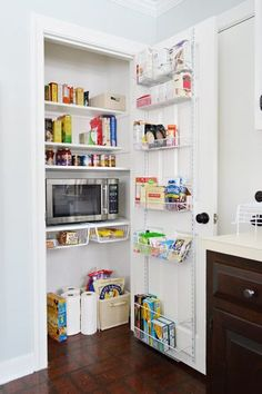 Fantastic pantry makeover by @ Young House Love . It's amazing what some paint, shelves & baskets will do for a space. :)