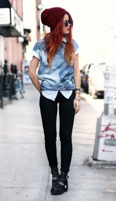 tomboy/femme style. Love the ombré hair too