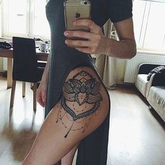 Lace Lotus Flower Mandala Chandelier Hip Tattoo Placement Ideas for Women - Blac. Lace Lotus Flower Mandala Chandelier Hip Tattoo Placement Ideas for Women – Black Henna Leg Side Hip Thigh Tattoos, Leg Tattoos Women, Tattoo Women, Thigh Tattoos For Women, Tattoo Girls, Side Hip Tattoos, Side Tattoos For Girls, Flower Side Tattoos, Tattoos On Thighs