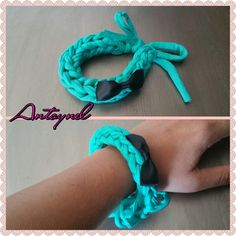 bracelet trapilho vert avec noeud : Bracelet par antoynel #zpagetti #trapillo #tektek