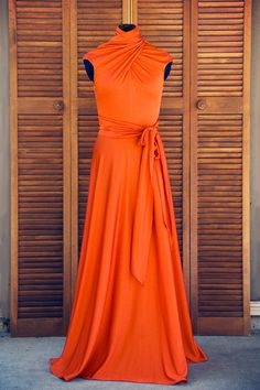 Orange Evening Gown 1970s Vintage by EmQVintage on Etsy, $99.99