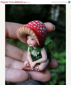 ON SALE Tiny Woodland Mushroom Fairy by Celia by scarletsbones