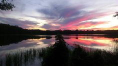 Zachód słońca nad Jeziorem Gielądzkim w Sorkwitach  Autor Lucyna Cieplak