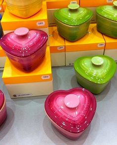 mini le cruset heart oven dishes - took this photo in France - wish I had bought them :(. Need in blue!