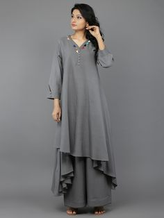 Grey Khadi Multi Patang Kurta with Palazzo - Set of 2 India Fashion, Girl Fashion, Fashion Outfits, Womens Fashion, Kurti Patterns, Dress Patterns, Indian Party Wear, Indian Wear, Indian Dresses