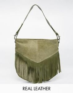 ASOS Suede Fringed Shoulder Bag with Leather Strap