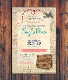 Travel Wedding Shower Invitation by ConteurCo