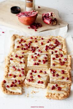 sesame tahini cream shortbread with pomegranate and cinnamon
