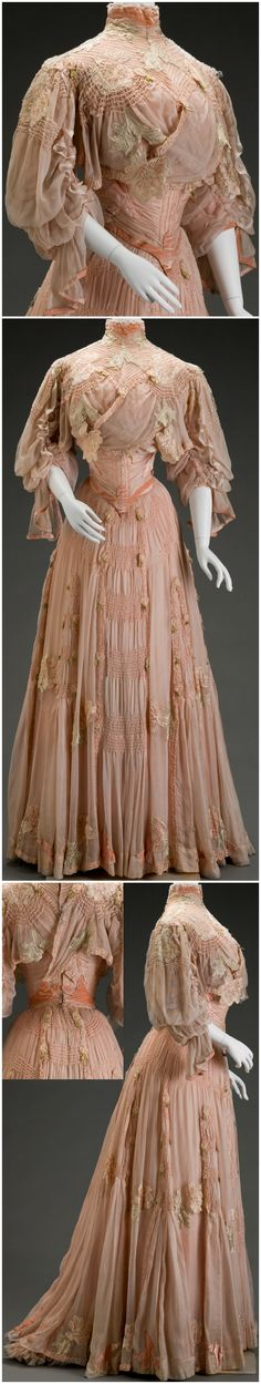"""Day dress, by Girolamo Giuseffi, G. Giuseffi L.T. Company, Design House (American), at the Indianapolis Museum of Art. IMA: """"The appliquéd and cutout stylized flowers—either peonies or plum blossoms—are drawn in an Art Nouveau style, which was prevalent from 1890 to 1914. The dramatic sleeve silhouette along with the great amount of ruching and hand pin tucking throughout the bodice and skirt make this a very expensive garment, perhaps part of a trousseau."""""""