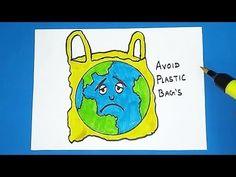How to Draw Avoid Plastic Bags Save Earth Drawing, Drawing For Kids, Painting For Kids, Poster Color Painting, Poster Drawing, Save Earth Posters, Junk Modelling, Earth Drawings, Drawing Competition