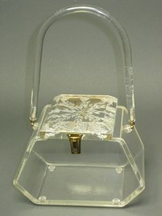 Wonderful wonderful Lucite Handbag --- Clear with REVERSE CARVED lid -- from Llewellyn - 1950s